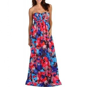 Jessica Simpson Floral Maxi Dress Strapless Silky